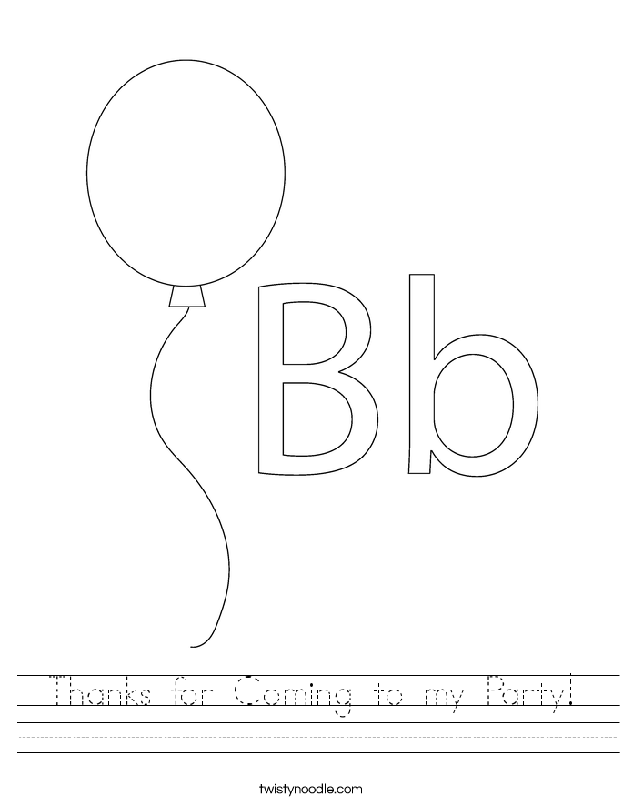 Thanks for Coming to my Party! Worksheet