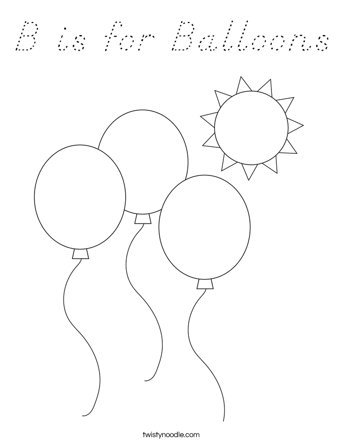 B is for Balloons Coloring Page