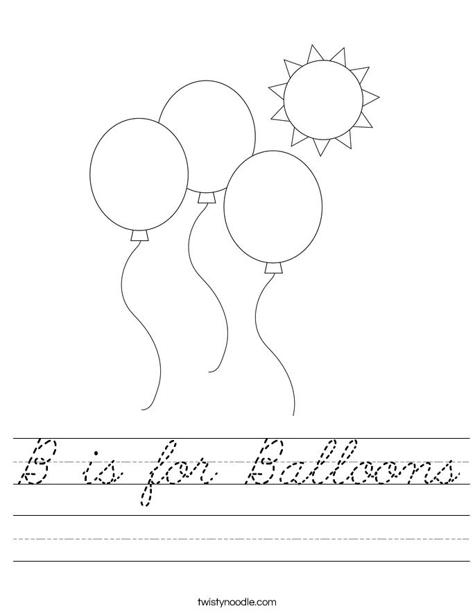B is for Balloons Worksheet