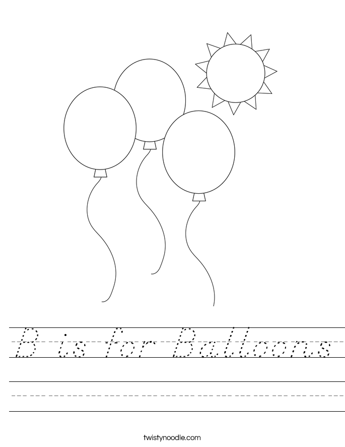 B is for Balloons Worksheet