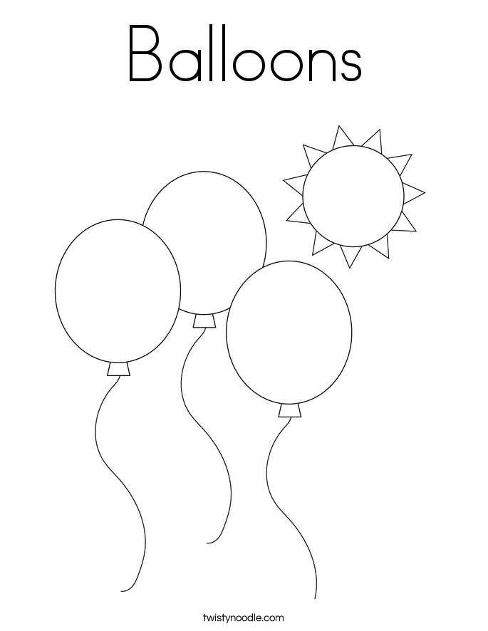 Balloons Coloring Page - Twisty Noodle