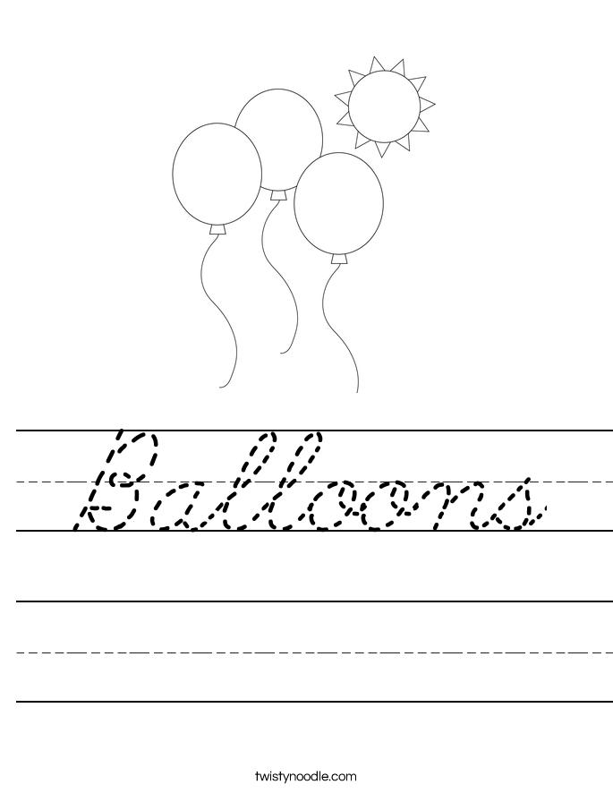 Balloons worksheet cursive twisty noodle for Cursive letter balloons