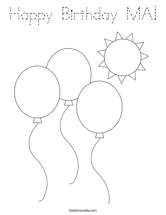 Happy Birthday MA! Coloring Page