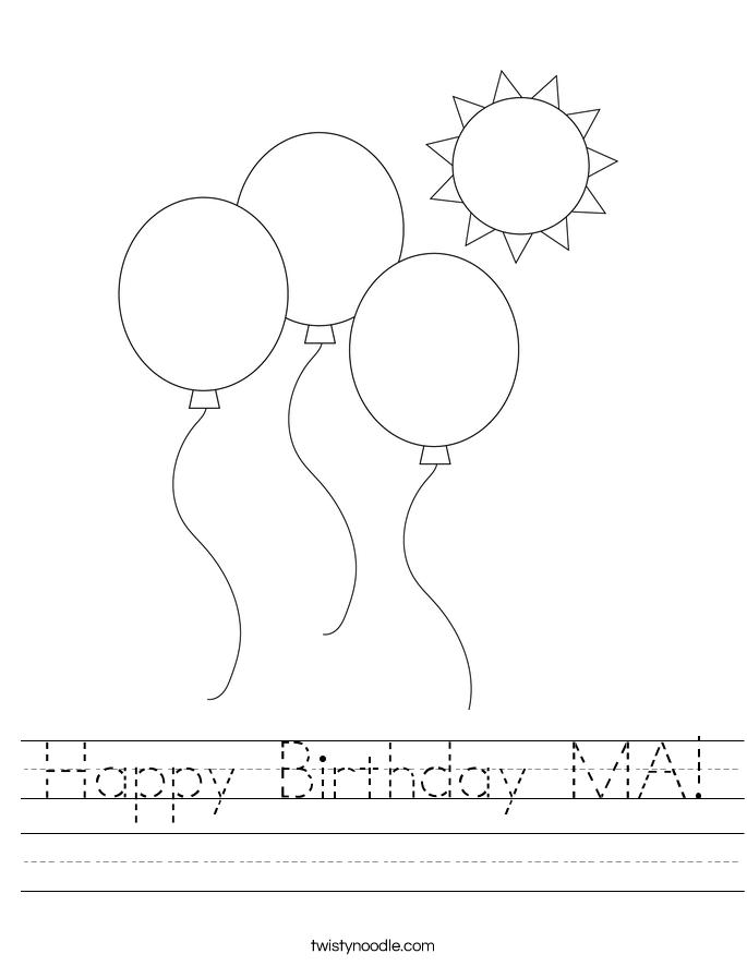 Happy Birthday MA! Worksheet