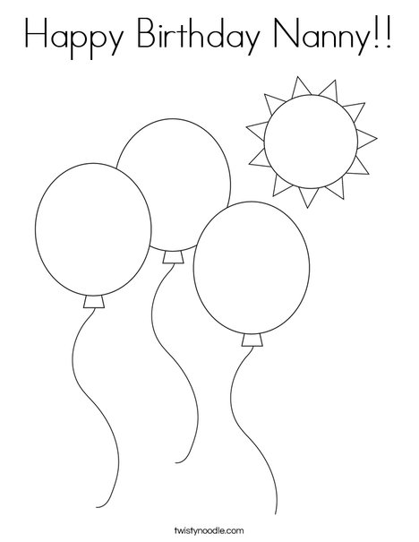 Happy Birthday Nanny Coloring Page