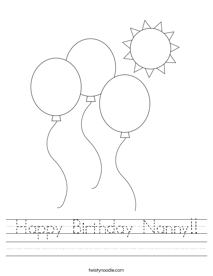Happy Birthday Nanny!! Worksheet