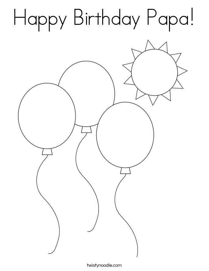 Happy Birthday Papa! Coloring Page
