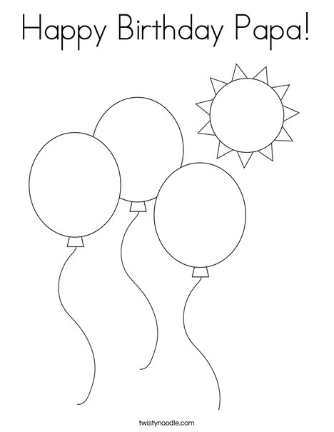 Happy Birthday Papa Coloring Page