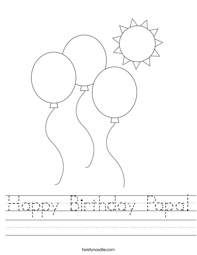 Happy Birthday Papa! Worksheet