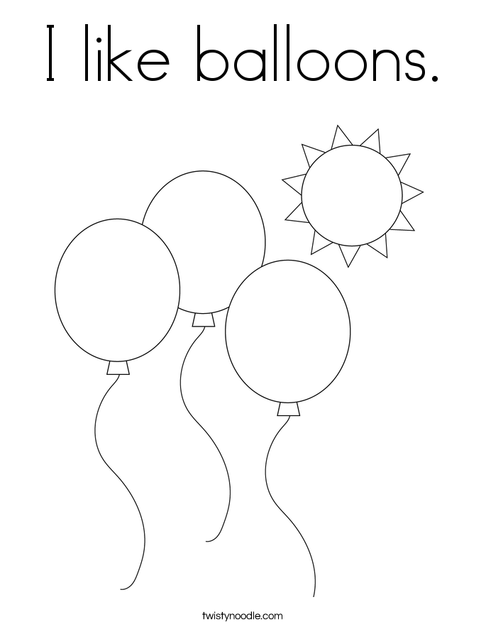 I like balloons. Coloring Page