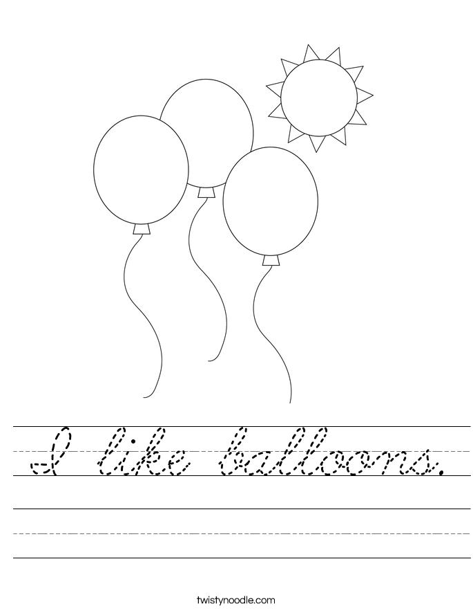 I like balloons worksheet cursive twisty noodle for Cursive letter balloons