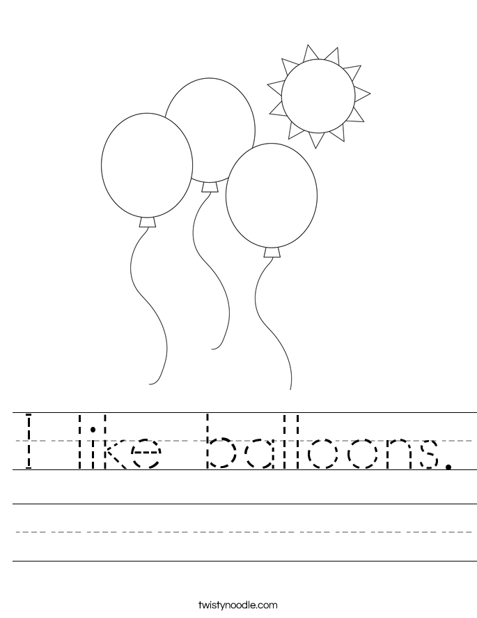 I like balloons. Worksheet