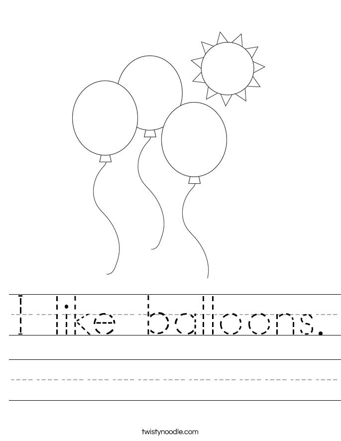 I like balloons. Worksheet
