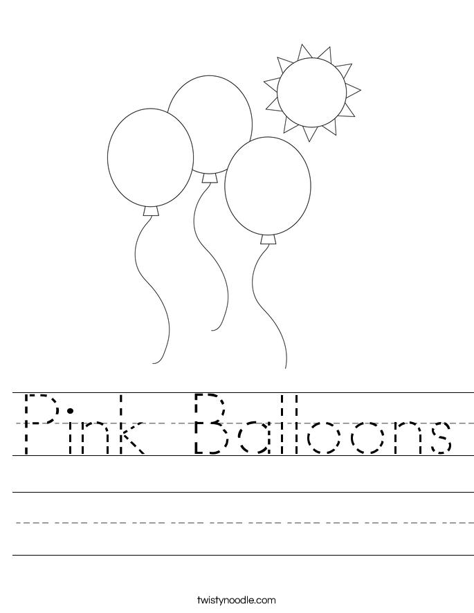 Pink Balloons Worksheet