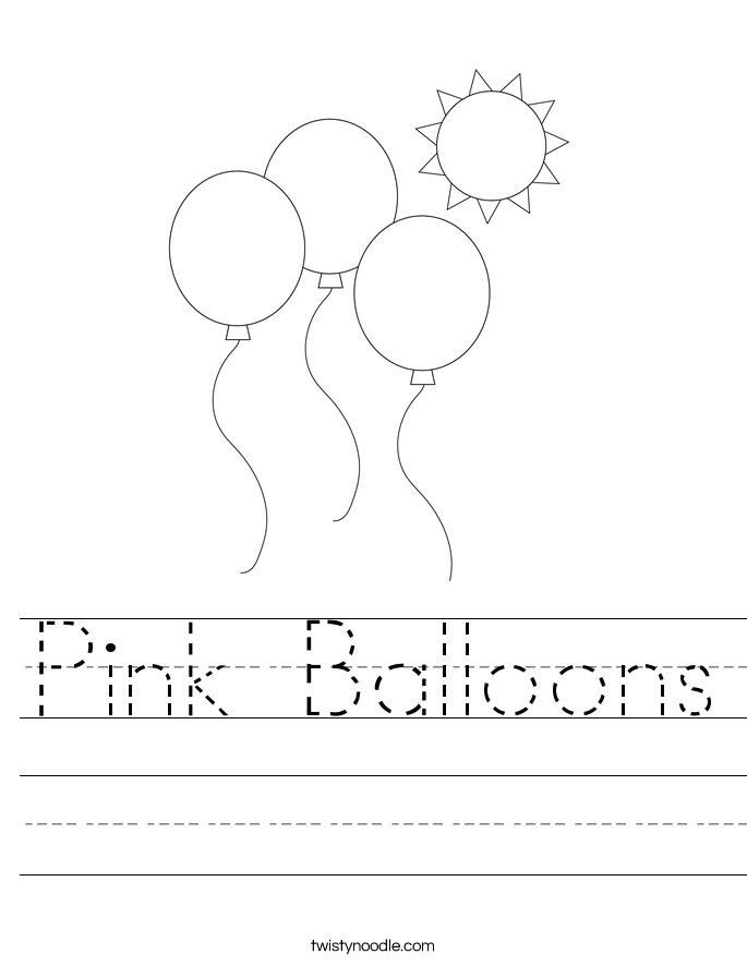 Pink Balloons Worksheet