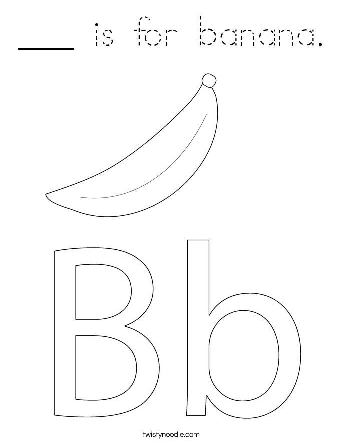 ___ is for banana. Coloring Page