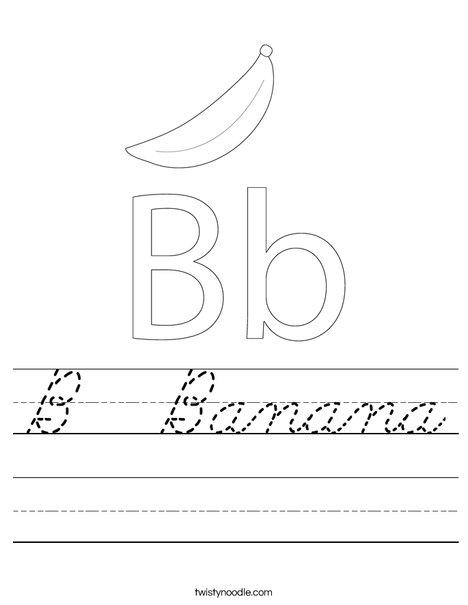 b banana worksheet cursive twisty noodle. Black Bedroom Furniture Sets. Home Design Ideas