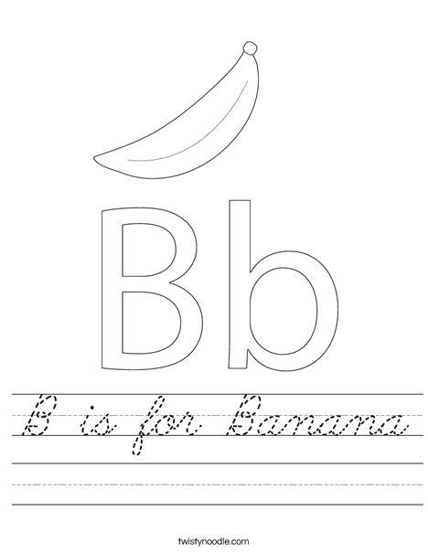 b is for banana worksheet cursive twisty noodle. Black Bedroom Furniture Sets. Home Design Ideas