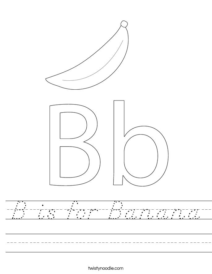 B is for Banana Worksheet