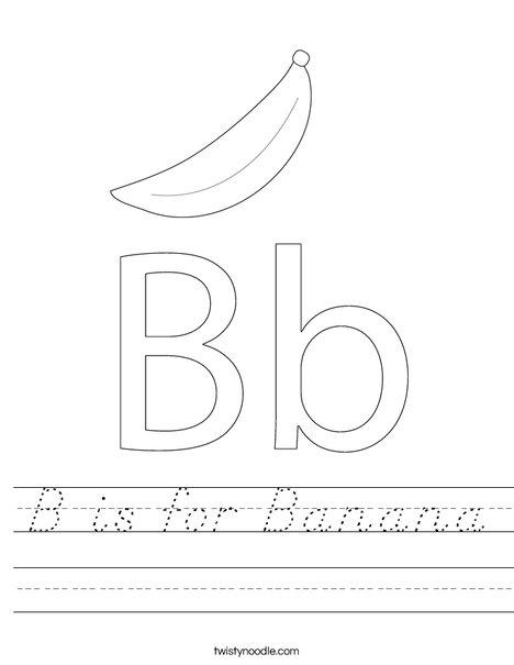 b is for banana worksheet d 39 nealian twisty noodle. Black Bedroom Furniture Sets. Home Design Ideas
