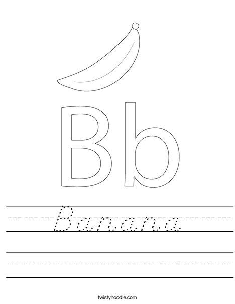 banana worksheet d 39 nealian twisty noodle. Black Bedroom Furniture Sets. Home Design Ideas