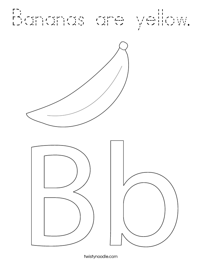 Bananas are yellow. Coloring Page