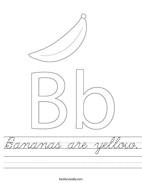 bananas are yellow worksheet cursive twisty noodle. Black Bedroom Furniture Sets. Home Design Ideas