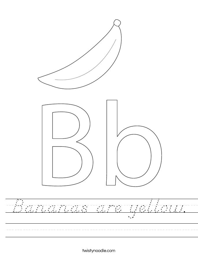 Bananas are yellow. Worksheet