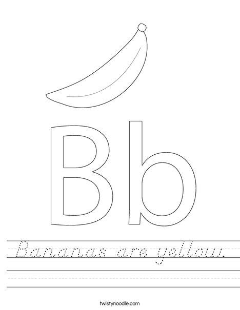 bananas are yellow worksheet d 39 nealian twisty noodle. Black Bedroom Furniture Sets. Home Design Ideas