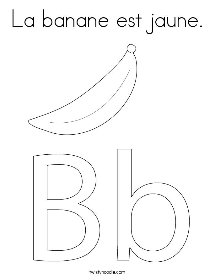 La banane est jaune. Coloring Page