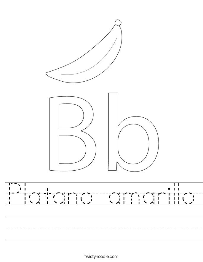 platano amarillo worksheet twisty noodle. Black Bedroom Furniture Sets. Home Design Ideas