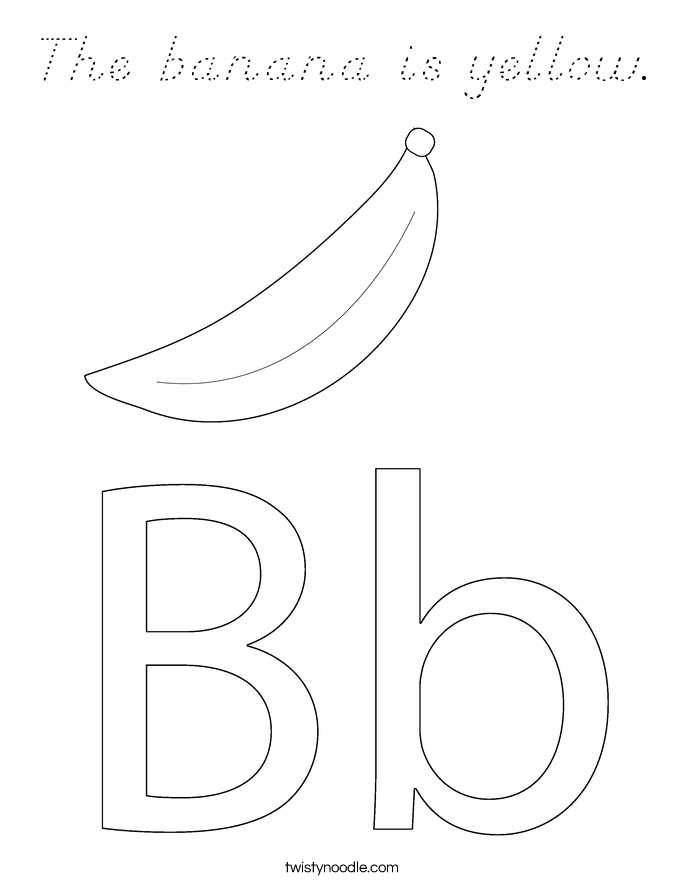 The banana is yellow. Coloring Page