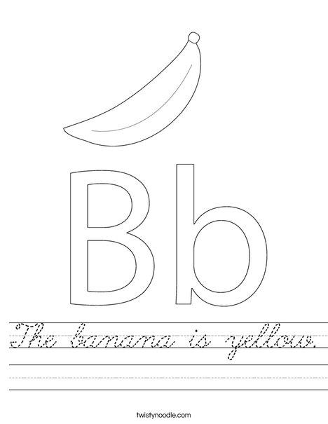 the banana is yellow worksheet cursive twisty noodle. Black Bedroom Furniture Sets. Home Design Ideas