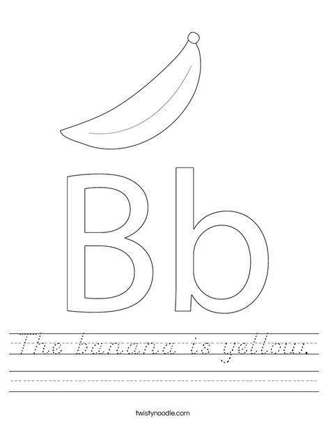 the banana is yellow worksheet d 39 nealian twisty noodle. Black Bedroom Furniture Sets. Home Design Ideas