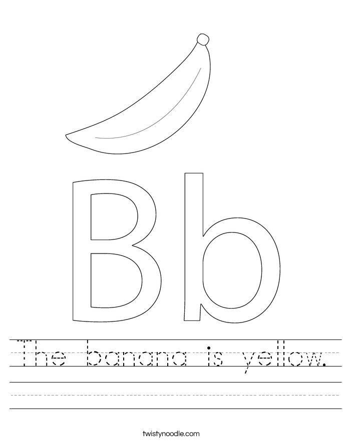 The banana is yellow. Worksheet