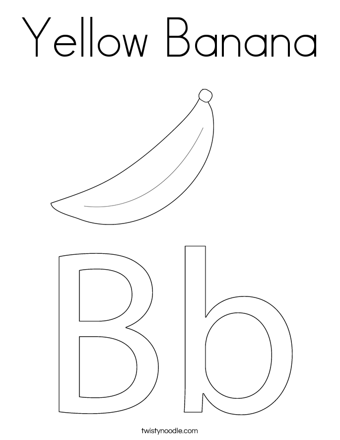 Yellow Banana Coloring Page - Twisty Noodle