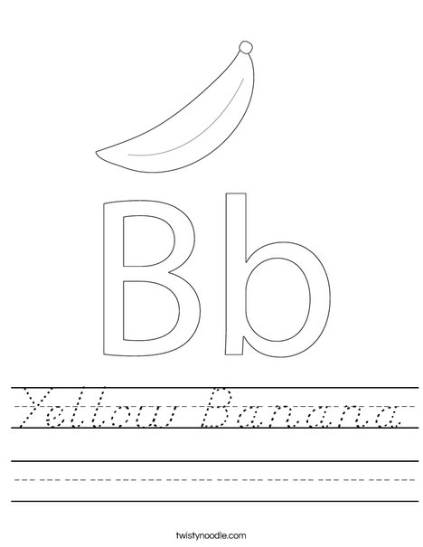 yellow banana worksheet d 39 nealian twisty noodle. Black Bedroom Furniture Sets. Home Design Ideas