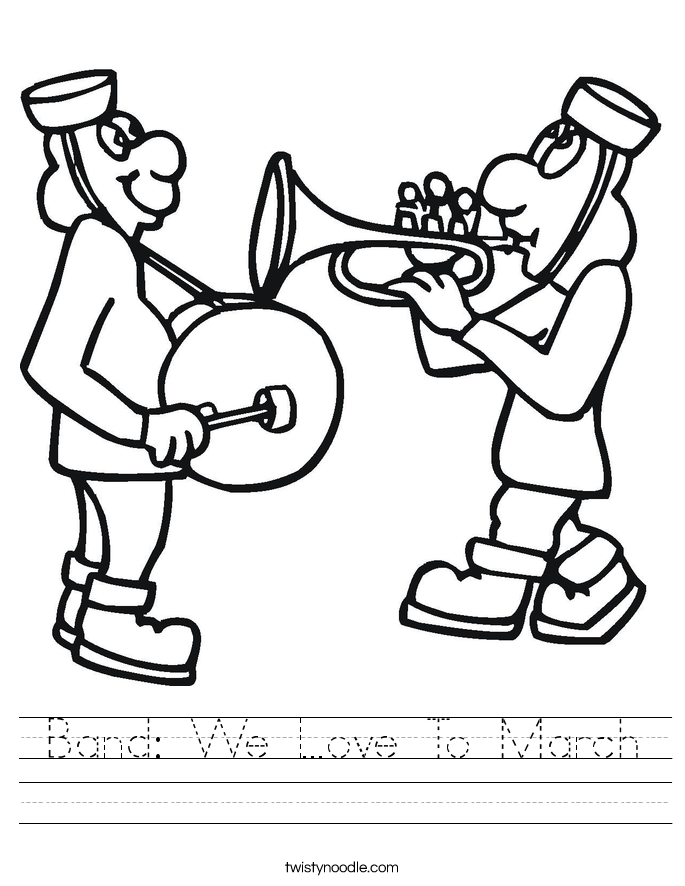 Band: We Love To March Worksheet