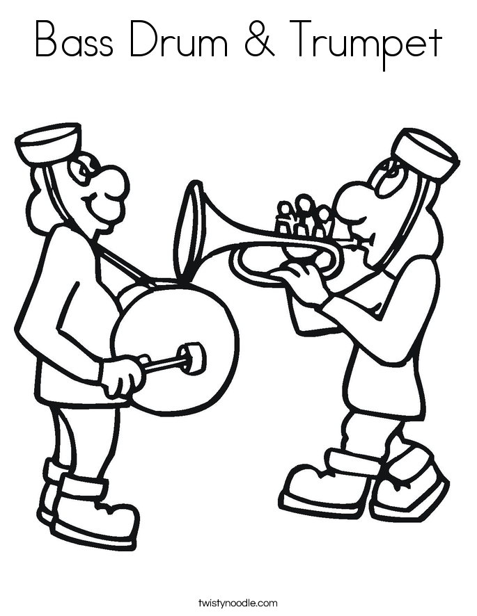 bass drum trumpet coloring page