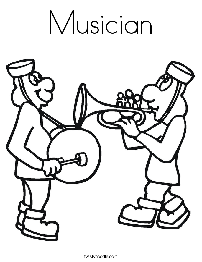 Musician Coloring Page Twisty Noodle