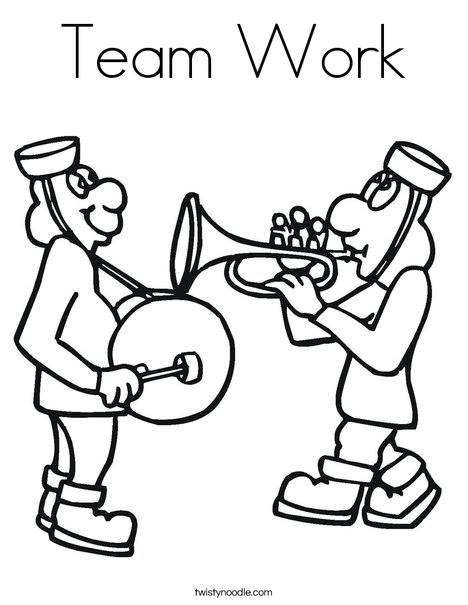 Team Work Coloring Page - Twisty Noodle