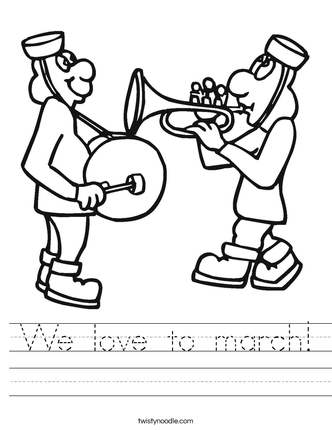 We love to march! Worksheet