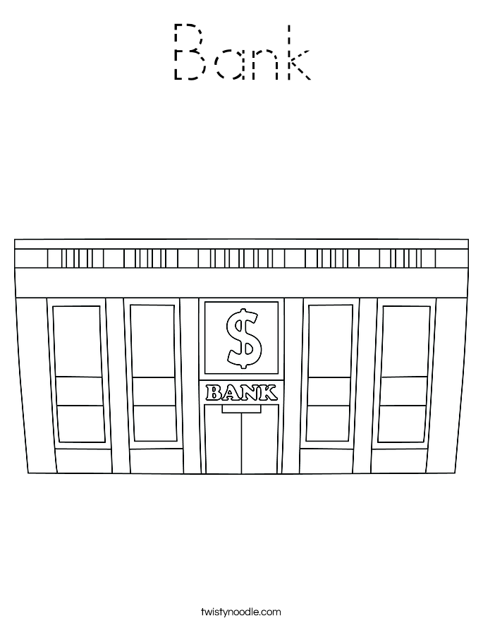 Bank Coloring Page