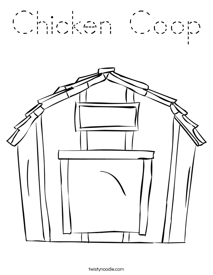 Chicken Coop Coloring Page Tracing Twisty Noodle