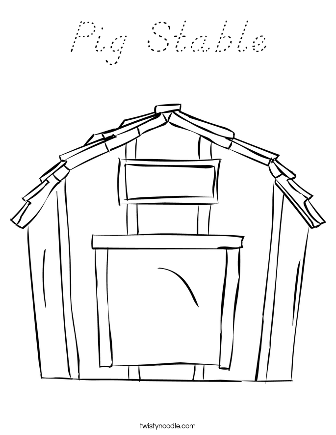 Pig Stable Coloring Page