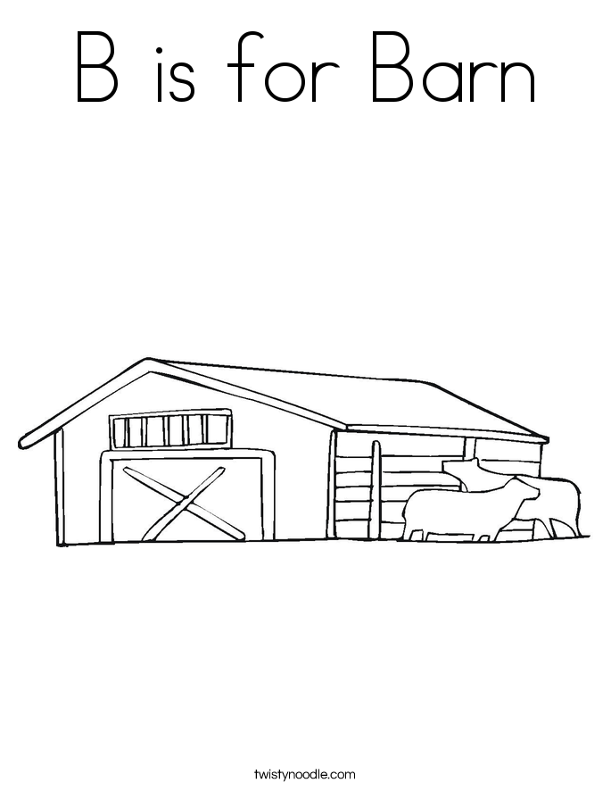 B is for Barn Coloring Page