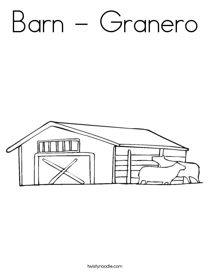 Barn - Granero Coloring Page