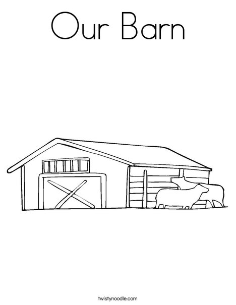 Barn with Cows Coloring Page