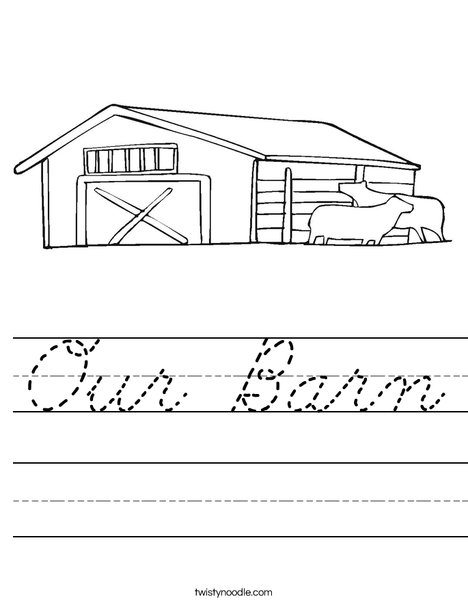 Barn with Cows Worksheet