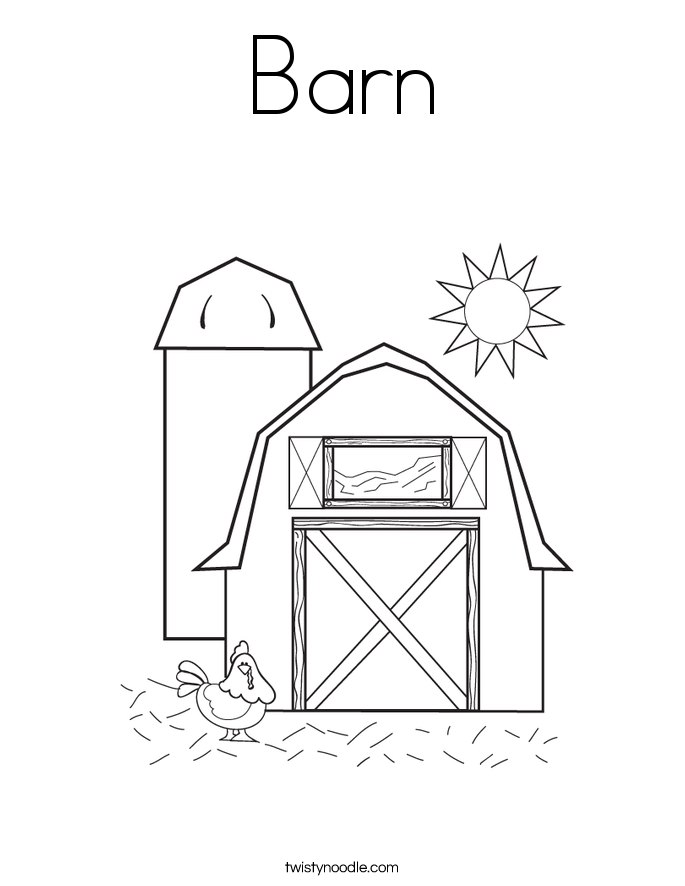 barn coloring page twisty noodle - Barns Coloring Pages Farm Silos